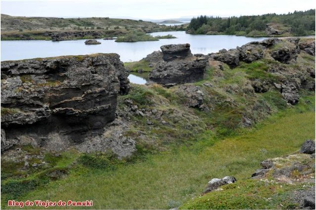 El lago Mývatn, una zona para observar formaciones geológicas de lava muy diversas e interesantes en Islandia