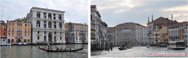 Recorriendo el Gran Canal en vaporetto se puede disfrutar de increibles panorámicas de las fachadas de casas y palacios venecianos