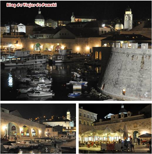 El puerto de Dubrovnik tiene un especial encanto de noche. Es un lugar recomendable para cenar en Dubrovnik
