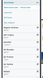 Seleccion de aerolineas con Skyscanner