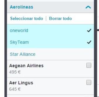 Seleccion de alianzas con Skyscanner