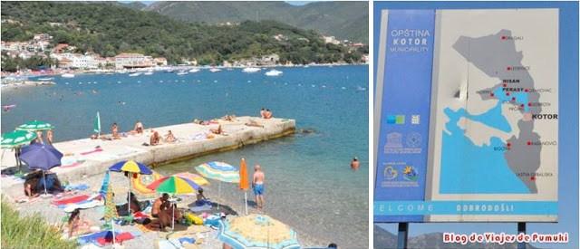 Playa de Herceg Novi en Montenegro en viaje en coche desde España en familia