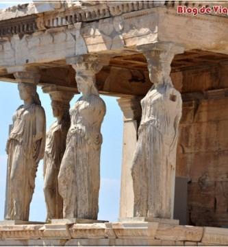 El Pórtico de Las Cariatides en la Acrópolis. Atenas