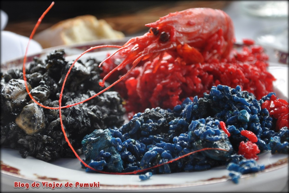 Arroces de colores negro, rojo y azul en en Canet