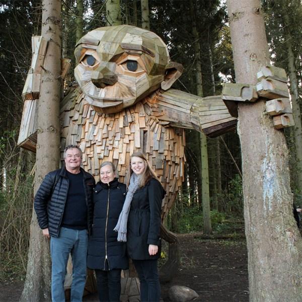 Shannon på gåtur med sin værtsfamilie fra Glostrup