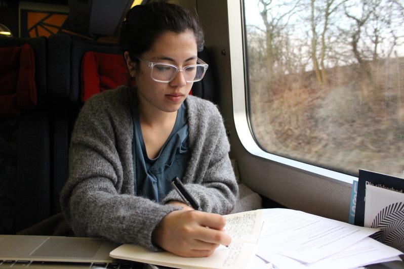 amerikansk pige laver lektier i toget