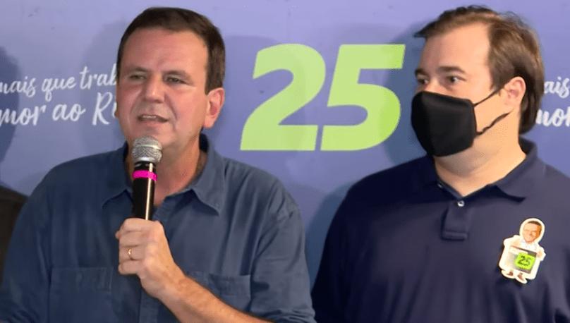 Eduardo Paes e Rodrigo Maia após a vitória nas eleições de 2020