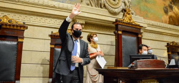 Prefeito do Rio, Eduardo Paes, em cerimônia de posse na Câmara