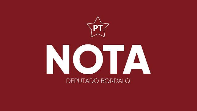 Blog do Bordalo Nota deputado Bordalo PT