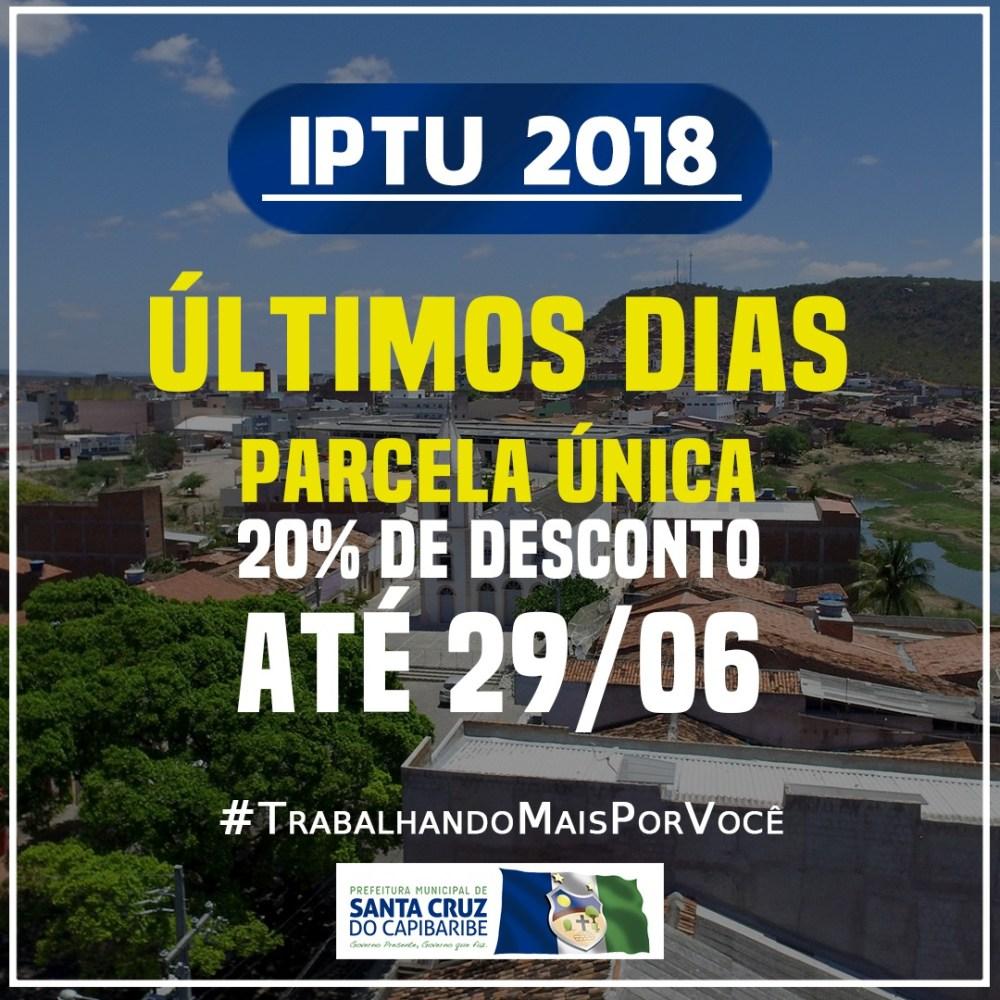Pagamento do IPTU com 20% de desconto vai até a próxima sexta-feira (29) em Santa Cruz do Capibaribe
