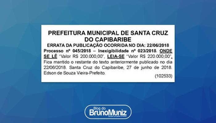 No Diário Oficial – Valor de Bruno & Marrone no São João da Moda é corrigido
