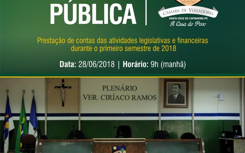 Câmara de Vereadores de Santa Cruz do Capibaribe realizará prestação de contas