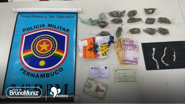 Policiais do GATI do 24° BPM prendem mulher com drogas e dinheiro em São Domingos de Brejo da Madre de Deus