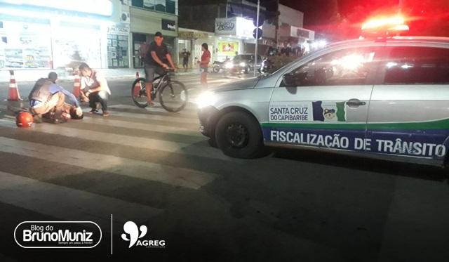 Idoso fica ferido após colisão na avenida 29 de Dezembro, em Santa Cruz do Capibaribe