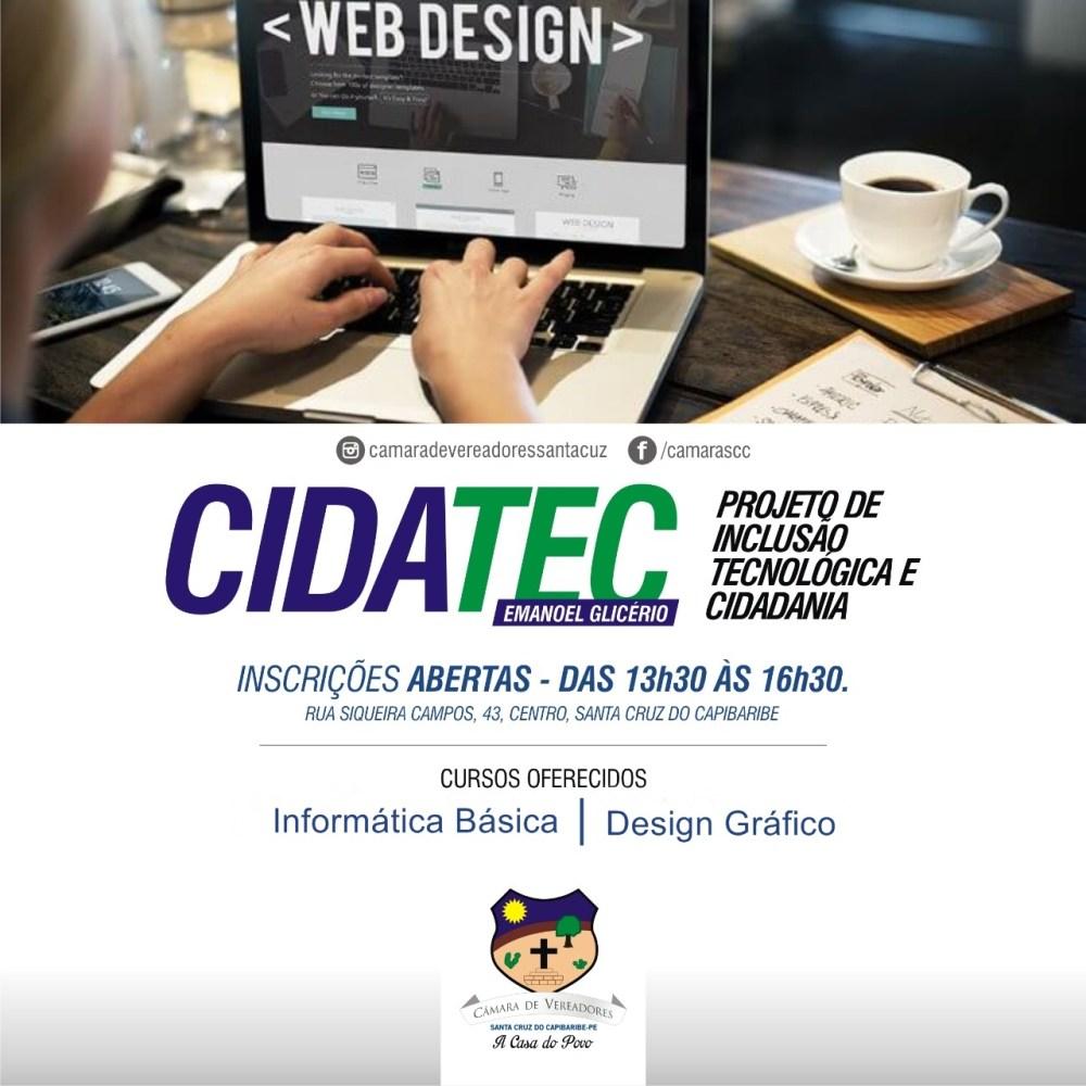 CIDATEC – Matrículas para cursos de Informática Básica e Design Gráfico seguem até a próxima segunda-feira (08)