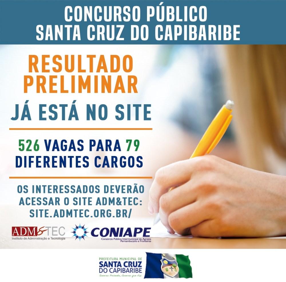 Prefeitura de Santa Cruz do Capibaribe divulga resultado preliminar do Concurso Público