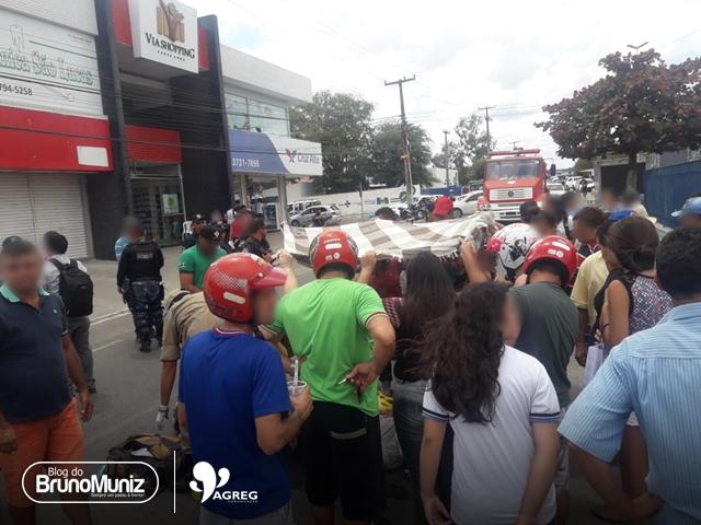 Pedestre é atropelada por motocicleta no Centro de Santa Cruz do Capibaribe