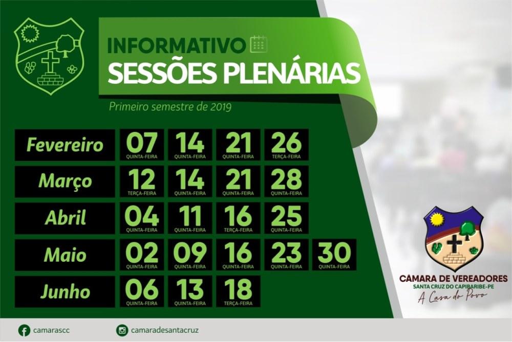Câmara divulga calendário das sessões plenárias para o primeiro período de 2019