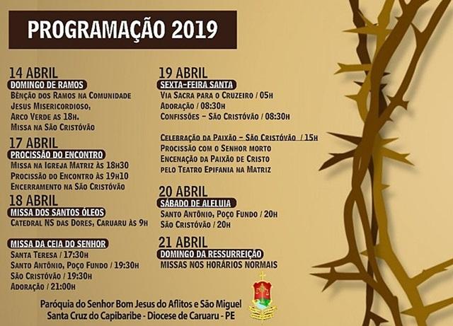 Paróquia de Bom Jesus dos Aflitos e São Miguel de Santa Cruz do Capibaribe, divulga programação para a Semana Santa