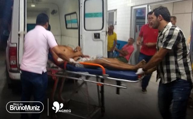 Homem baleado é socorrido na Policlínica de São Domingos