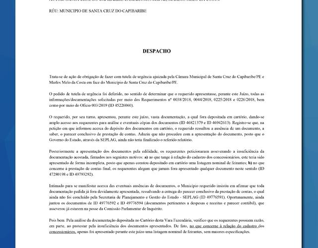 Exclusivo – Justiça determina busca e apreensão de documentos negados à CPI do Calçadão