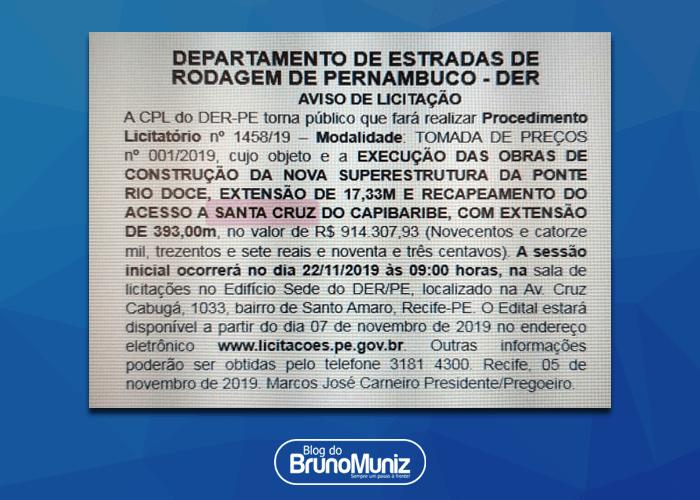 Exclusivo – Governo do Estado de Pernambuco abre processo para construção de nova ponte em Santa Cruz do Capibaribe