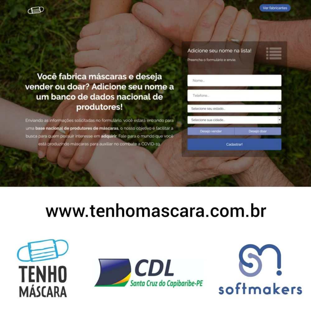 Site para divulgar fabricantes de máscaras é lançado pela CDL Santa Cruz do Capibaribe em parceria com a empresa SoftMakers
