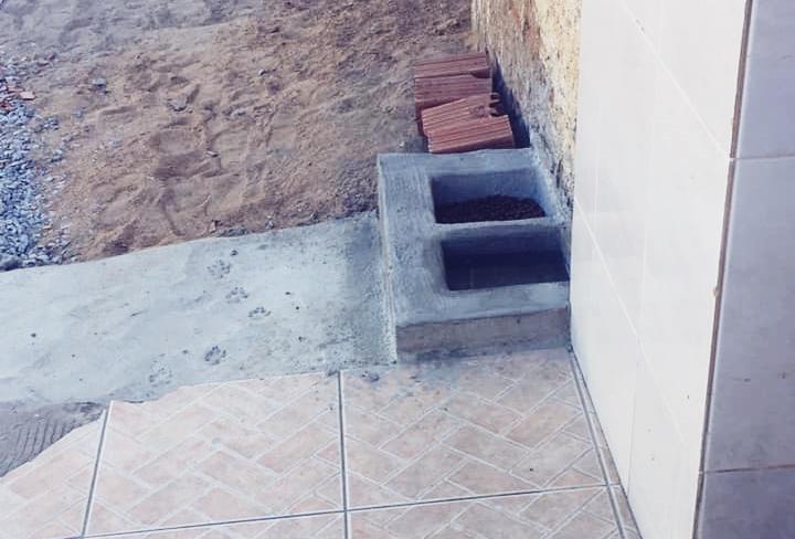 Após ter comedouros de plástico retirados por diversas vezes da frente de sua residência, mulher faz reservatórios de cimento para alimentar animais de rua