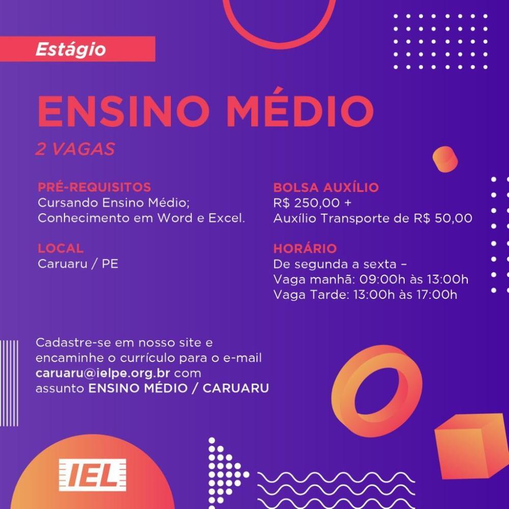 Em Caruaru, IEL-PE seleciona para vagas de estágio em diversas áreas