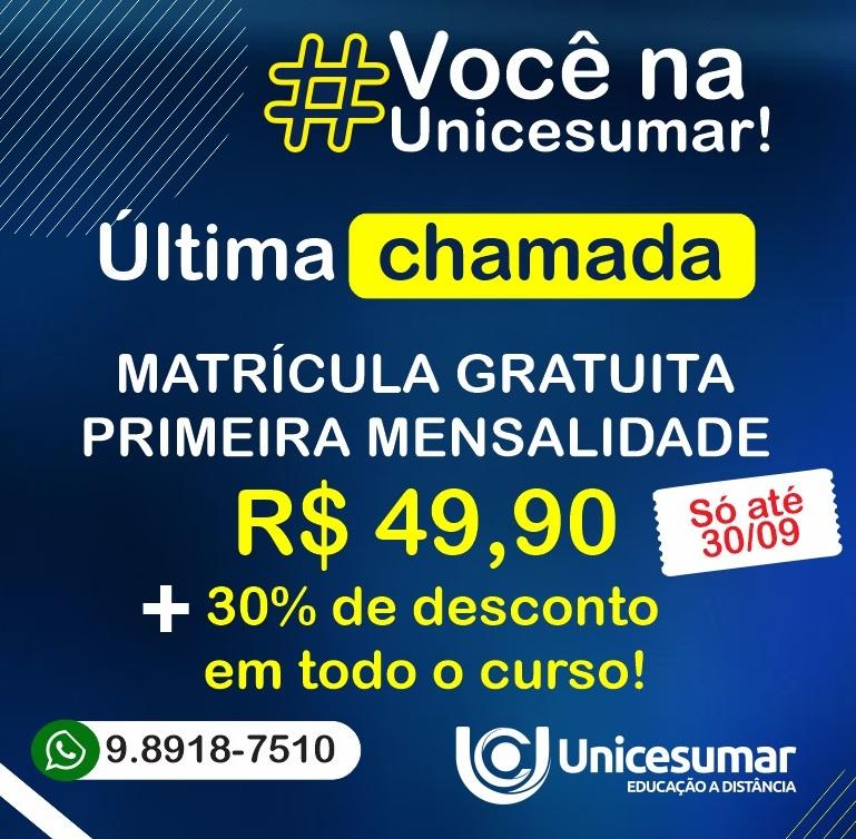 Unicesumar lança promoção com matrícula gratuita e primeira mensalidade de R$ 49,90