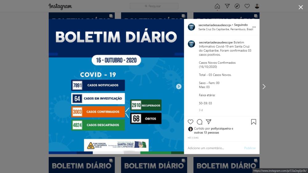 Há quatro dias, 'Boletim Diário' de Covid-19 de Santa Cruz do Capibaribe não é atualizado