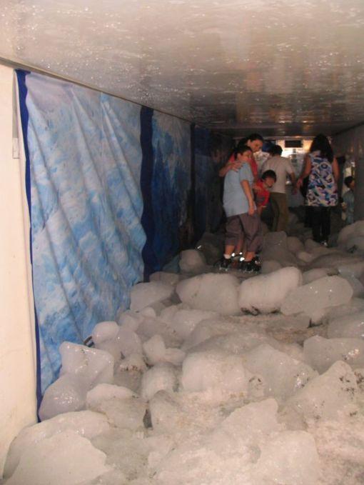 Visitantes da feira andaram no gelo da Patagônia