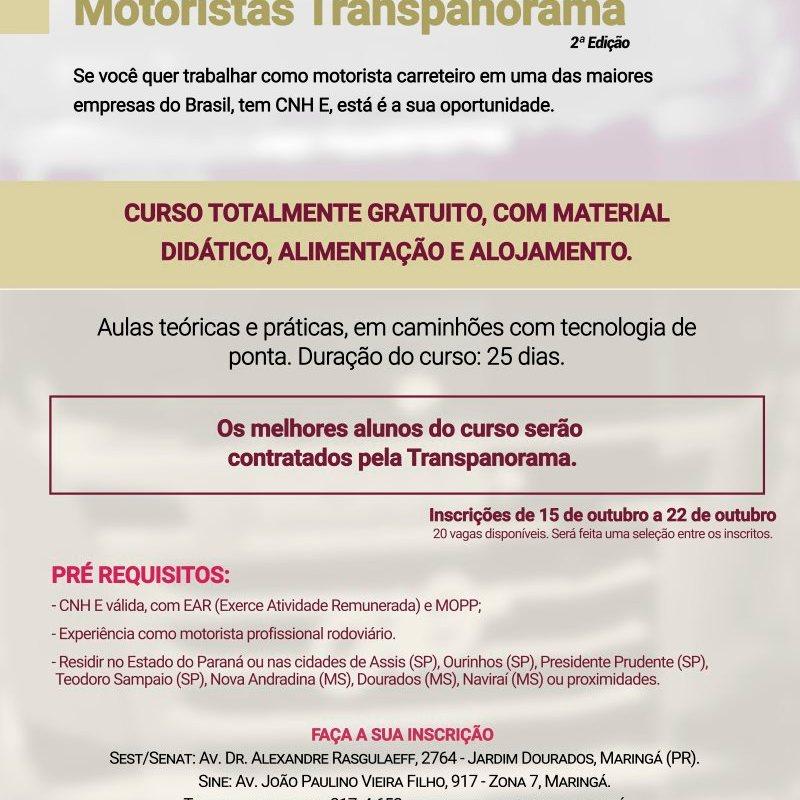 Transpanorama abre inscrições para a 2ª edição do Curso de Formação e Aperfeiçoamento de Motoristas