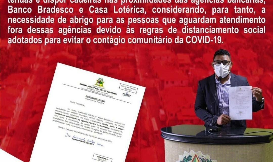 São Vicente Ferrer – Presidente da Câmara prof. Zeca quer instalação de tendas, e cadeiras para população que aguarda atendimentos nas filas das agências bancárias do Município