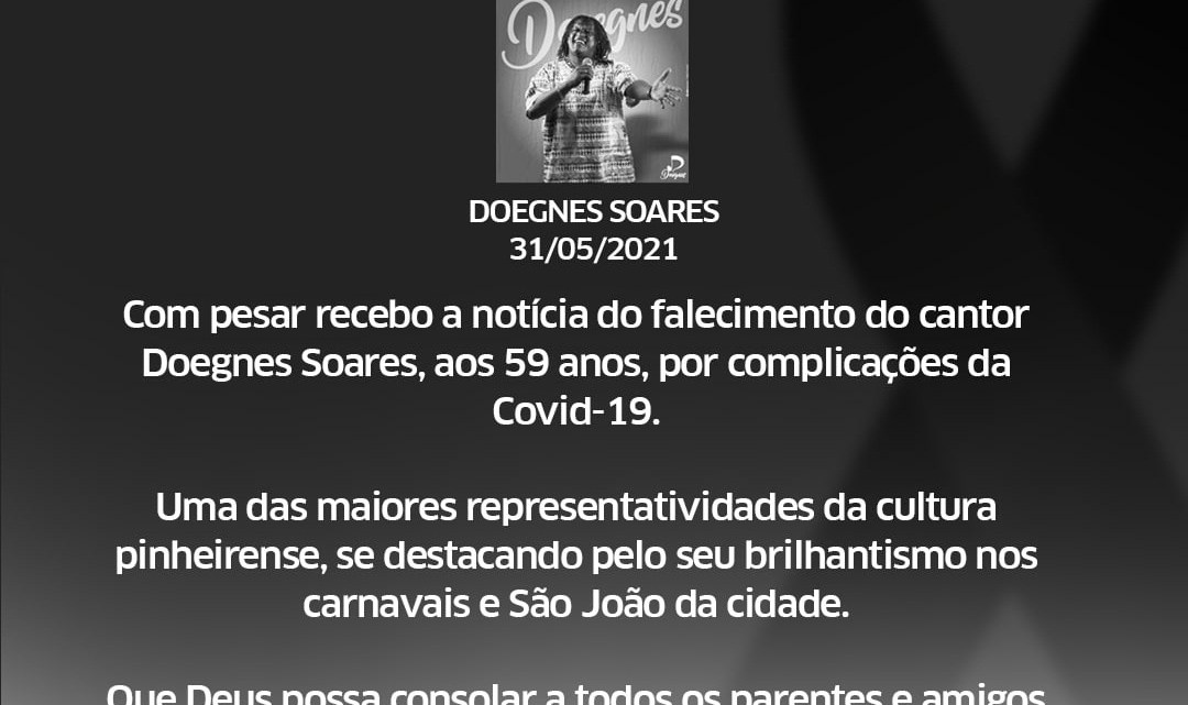 Dr. Leonardo Sá lamenta a morte do cantor Doegnes Soares