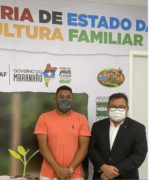 Durante encontro, vereador professor Zeca e secretário adjunto de agricultura familiar do Maranhão Ivaldo Rodrigues, discutem ações para o Município de São Vicente Ferrer