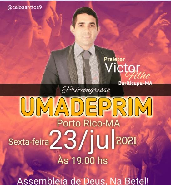 Em comemoração aos 32 anos da União de Mocidade da Assembleia de Deus de Porto Rico do Maranhão, será realizada nos dias 23, 24, e 25 de julho uma grande programação, confira