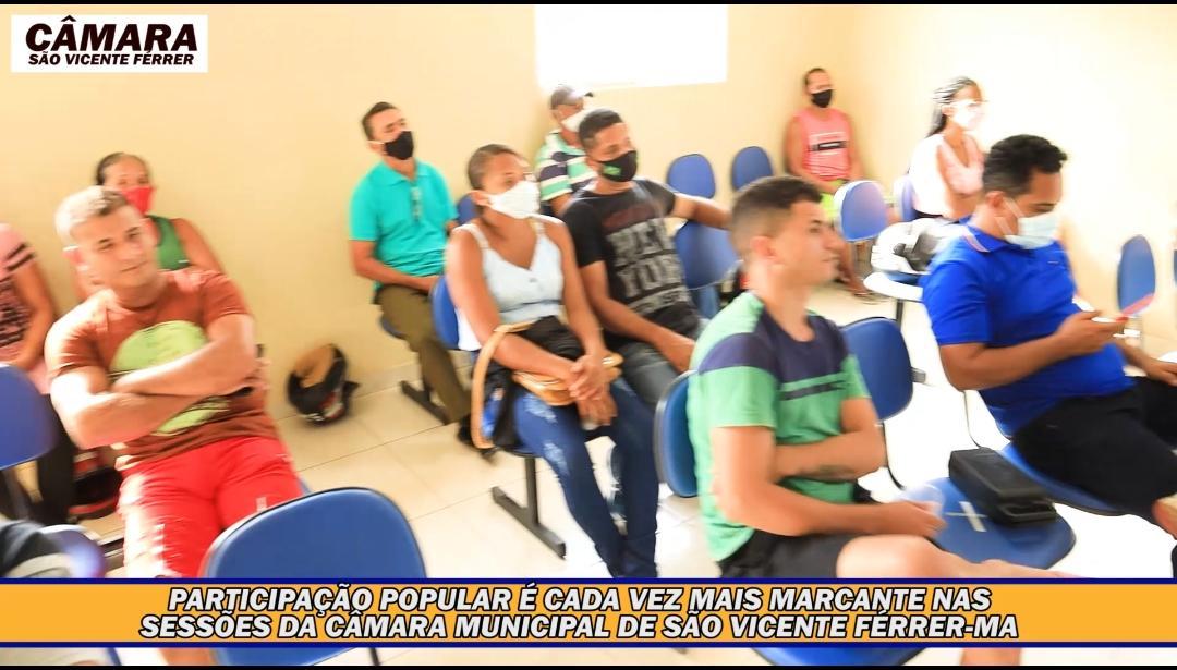 Participação popular tem sido cada vez maior, nas sessões da Câmara Municipal de São Vicente Ferrer