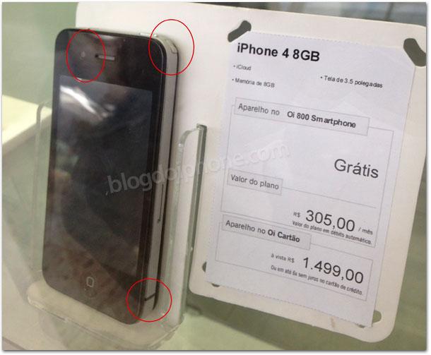 iPhone falso na vitrine