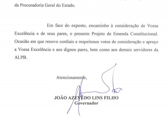 EMENDA A CONSTITUIÇÃO -Governador encaminha para a ALPB projeto que cria a Polícia Penal