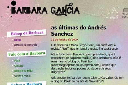 Barbara Gância fala sobre o Blog do Paulinho, em 2009