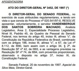 Aposentadoria senado 1997