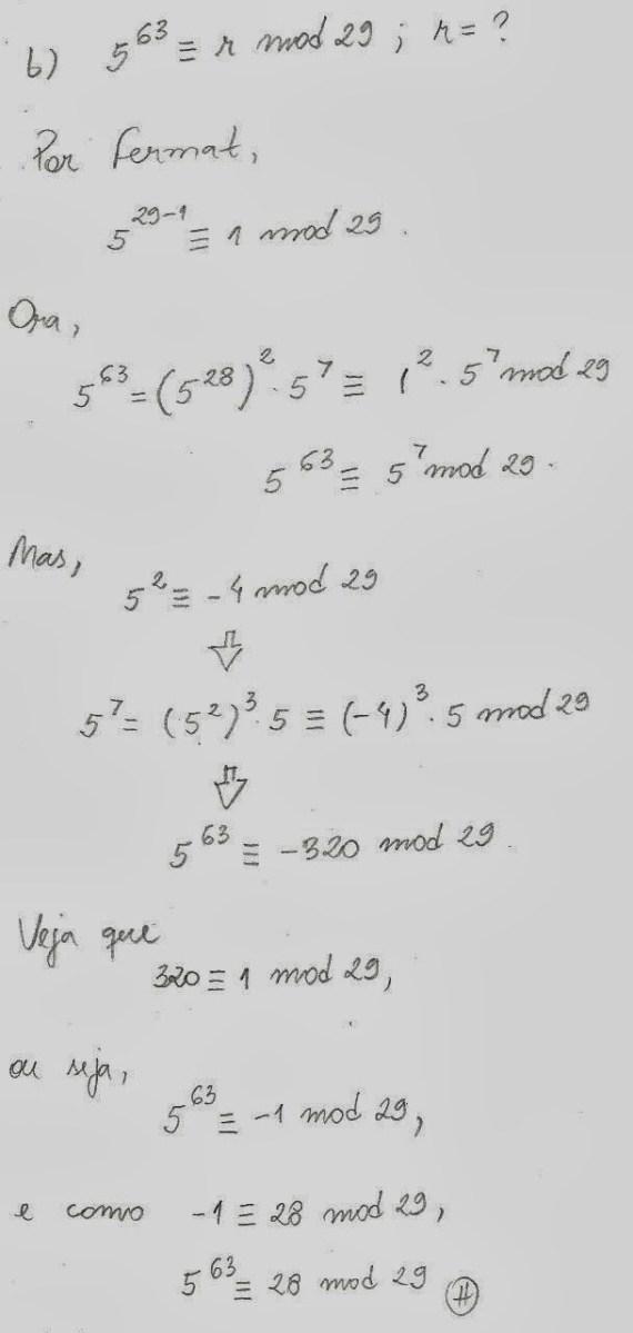 Qual o resto da divisão 5^63 : 29 ?