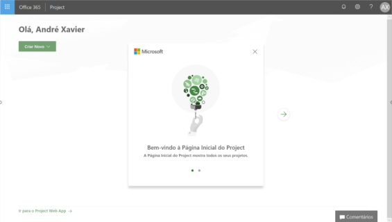 Primeiro acesso a Página Inicial do Project