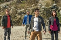 """From L to R: Dacre Montgomery as """"Jason"""", RJ Cyler as """"Billy"""", Ludi Lin as """"Zach"""" and Naomi Scott as """"Kimberly"""" in SABAN'S POWER RANGERS. Photo by Kimberley French."""