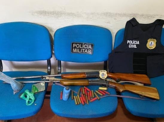 Polícias Civil e Militar efetuam prisões por receptação e porte ilegal de arma de fogo em Vargem Grande