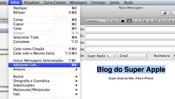 Como adicionar um link em uma mensagem no Mail do Mac