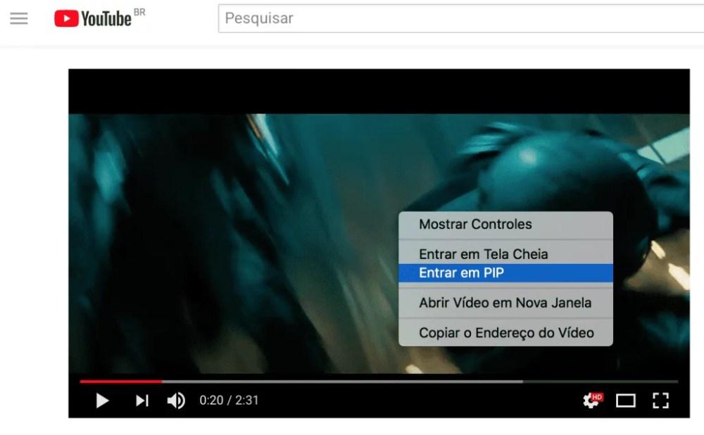 Captura de tela mostrando onde ver o vídeo em PIP.