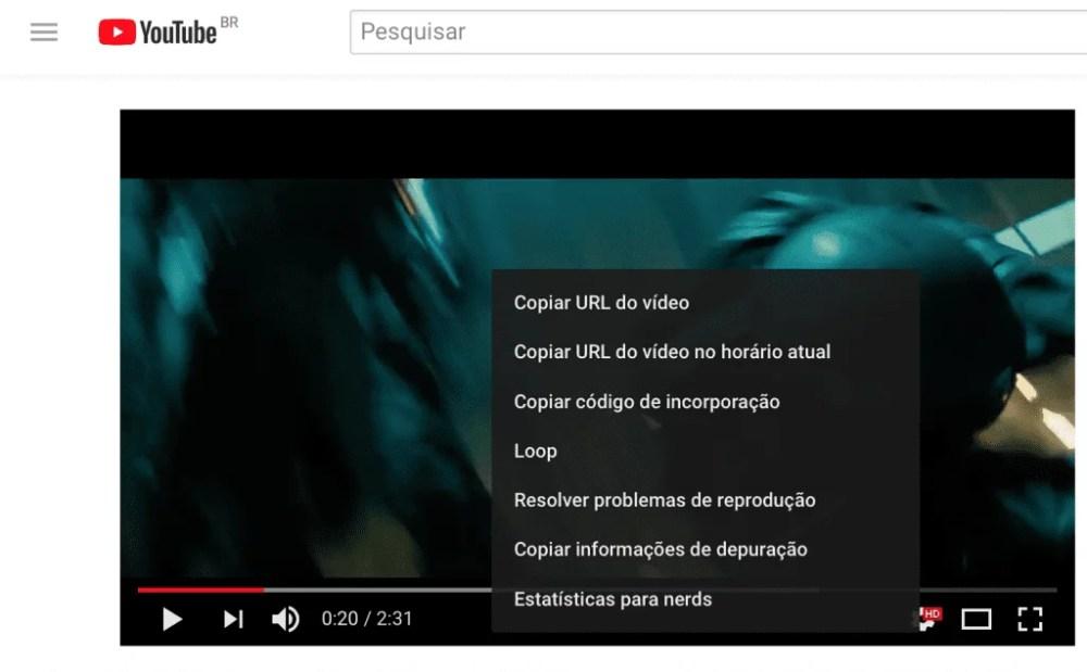 Captura de tela mostrando menu que aparece ao clicar no player do YouTube com um clique secundário.