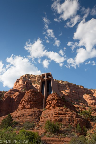 Portrait of the Chapel of the Holy Cross from below under blue skies in Sedona.
